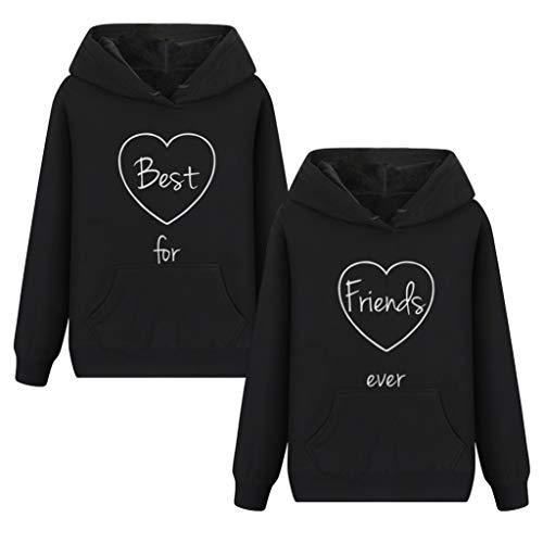 Friends Kapuzenpullis für Zwei Mädchen Damen Best Friends Pullover Freunde Sweatshirt BFF Hoodie mit Kapuze warm Geschenk 2 stücke (Schwarz,Best-XL+Friends-XL) -