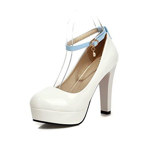 VogueZone009 Damen Schnalle Rund Zehe Hoher Absatz Pu Leder Gemischte Farbe Pumps Schuhe Weiß