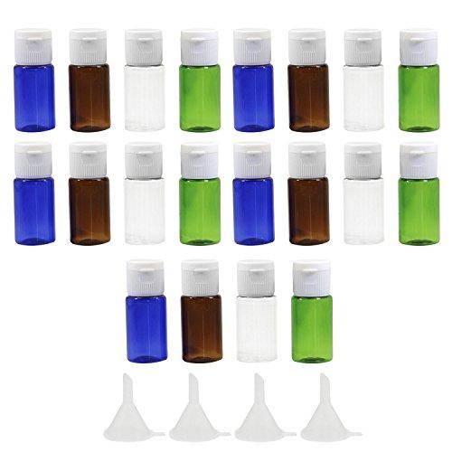 20 PCS 10 ml assortiment couleurs en plastique vol bouteilles de voyage ensemble lotion douche gel Shampooing Container avec 2 petits entonnoir pour Flight Airport Holiday