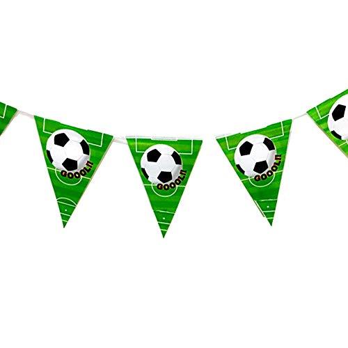 Newin Star 1 Strang Fussball Triangle Pennant Banner für Fußball Party Supplies Fußball-Thema-Geburtstags-Party-Dekoration (Schwarz Weiß Grün) Hausgarten-Küche Produkte