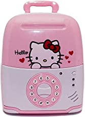 Kajal Toys™ Hello Kitty Trolley Type Rolling Musical Money Safe Kids Piggy Savings Bank with Electronic Lock & Counterfeit Currency Checker (Pink)