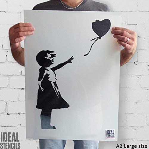Banksy Ballon Mädchen Schablone wiederverwendbar startseite-wand-dekor Schablone Graffiti Banksy Stil Kunst Schablone Wandfarbe Stoffe & Möbel - halb transparent Schablone, M/ 25X37CM