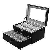 BASTUO Watch Box for Men 20 Watch Display Case Organizer with PU Leather Watch Storage Case, Black