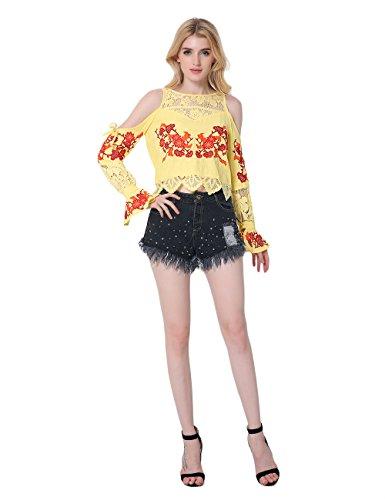 SunIfSnow Damen Bluse, Einfarbig Gr. M, gelb (Cotton Eyelet Tunic)