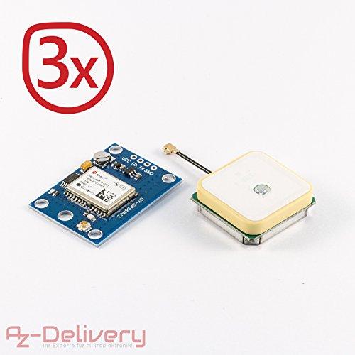 AZDelivery ⭐⭐⭐⭐⭐ 3 x NEO-6M GPS Modul baugleich zu Ublox/u-blox mit GRATIS EBOOK!