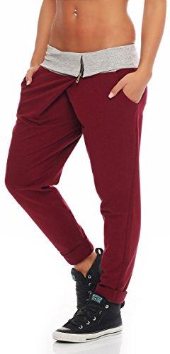 malito Damen Jogginghose in Wickel Optik | Sporthose in Unifarben | Baggy zum Tanzen | Sweatpants �?Trainingshose 3318 Bordeaux
