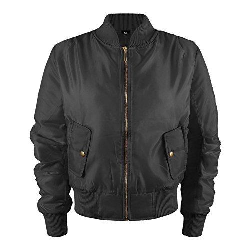 Kinder Mädchen Jungen Kinder Bomber MA1 Stil Jacke Piloten Biker Taschen Mantel Jahre - Schwarz, EU 104-110