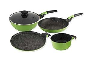 Wonderchef Click Amaze Induction Base Aluminium Cookware Set, 4-Pieces, Green