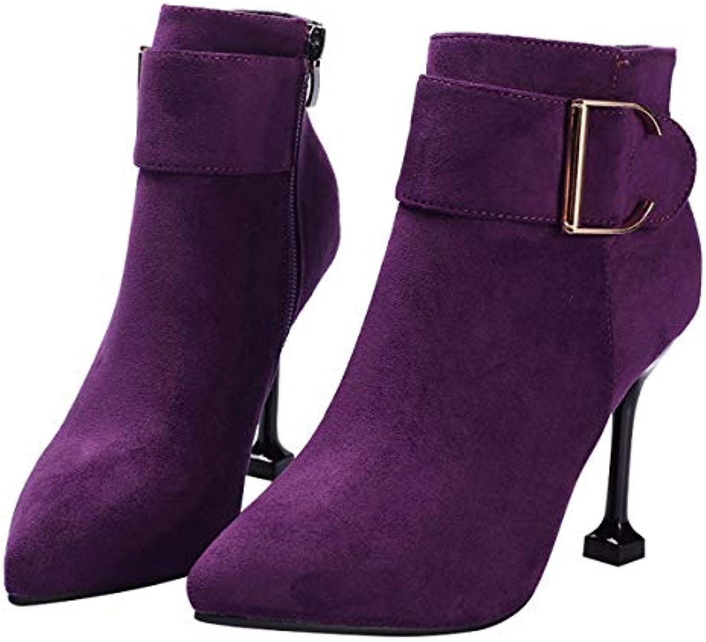HBDLH Chaussures femmes/10 pour femmes/10 Chaussures Cm De Talon Élégantes des Boucles De Ceinture des Bottes en Daim L'Automne Et... 83195a