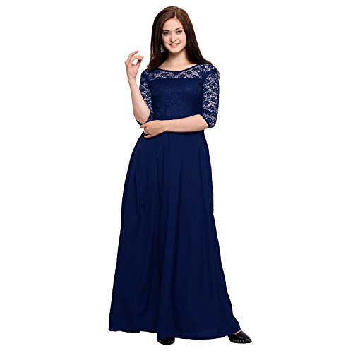 Fashion2wear Women's Crepe Gown (Blue_Medium)