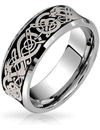 Bling Jewelry Comodidad del cóncavo Dragón Celta Negro Anillo Tungsteno Anillo de Matrimonio Anillo