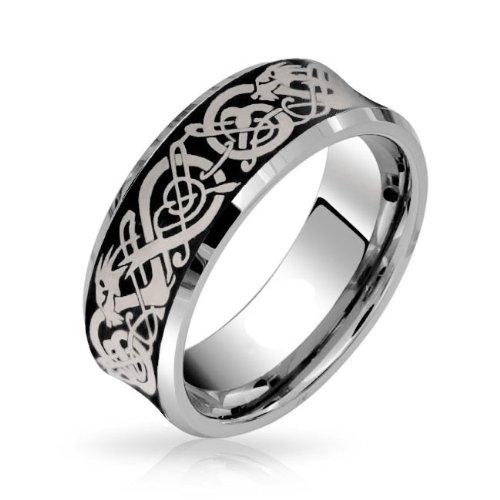 Bling Jewelry cóncavo y ajuste confort negro Dragón Celta anillo anillo de bodas de tungsteno