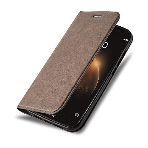 Cadorabo Hülle für Huawei G7 Plus / G8 / GX8 - Hülle in Kaffee BRAUN - Handyhülle mit Magnetverschluss, Standfunktion & Kartenfach - Case Cover Schutzhülle Etui Tasche Book Klapp Style