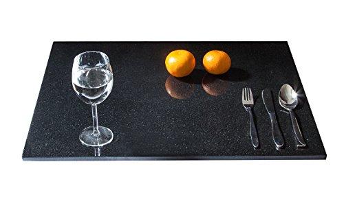 Stein Küchenplatte Arbeitsplatte Servierplatte Küchenarbeitsplatte aus seltenem schwarzen Granit, Naturstein Unikat Steinmetzarbeit, massiv, elegant, als Teller, Platzteller, Käseplatte Wurstplatte Aufschnittplatte oder Sushiplatte für Ihre Festtafel, 48 x 60 x 1,5 cm, 12kg