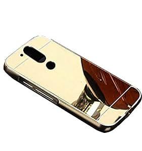 Novo Style Luxury Shiny Bling Glitter Metal Clear Aluminum Frame Cover Ultra Thin Slim Bumper Hard Back Case Cover For Moto G Plus 4th Gen (G4 - 4th Generation - Golden