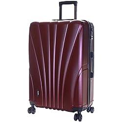 Karabar Valise Rigide Grande Taille XL Bagage à roulettes pivotantes de qualité supérieure avec Serrure TSA intégrée 76 cm 4,5 kg 100 Litre 4 Roues, Seashell Rouge