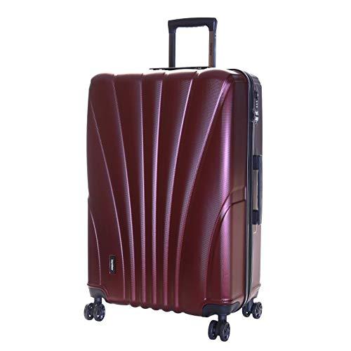 Karabar Trolley Bagaglio da Stiva Dura Valigia Rigida Leggera Grande XL 76 cm 4,5 kg 100 litri con Rotelle Pivotanti e Lucchetto TSA Integrato, Seashell Rosso