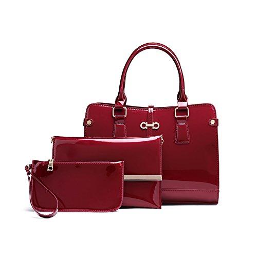 Tisdaini Damenhandtaschen Mode Schultertaschen Lackleder Set 3 Stuck Shopper Umhängetaschen Brieftasche