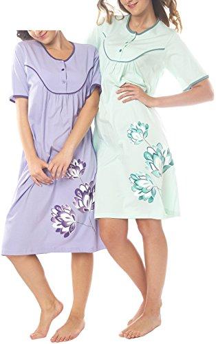 Damen Kurzarm Nachthemd Baumwolle 2 Stück Packung Knopfleiste DF844-845 mint/flieder