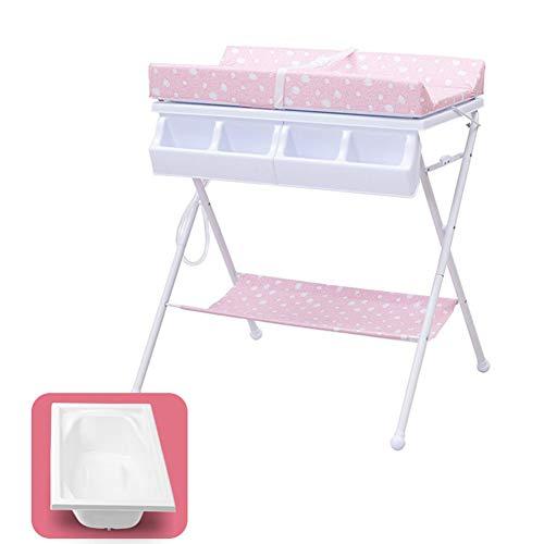 Table à Langer Rose pour Bébé, Station De Toilette pour Couches 2 en 1 avec Rangement pour Bébé