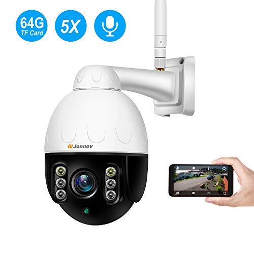 Jennov Außen Überwachungskamera IP WLAN Kamera Outdoor, 5-Fach Optischem Zoomobjektiv Sicherheitskamera Innen und Außen IP66 Wasserdicht IR-Nachtsich Bewegungsmeldermit 64G SD-Karte...