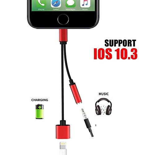 Preisvergleich Produktbild iPhone 7 Lightning auf 3,5 mm Audio Charge Earphone Jack Adapter. Audio Kabel 2 in 1 Lightning Ladekabel Anschluss Für Das iPhone 7 7 Plus 6S 6 iPod iPad. Unterstützt IOS 10.3 oder neuer (Rot + Schwarz)