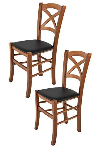 Tommychairs - Set 2 sedie Cross per Cucina e Sala da Pranzo, Struttura in Legno di faggio Color Noce e Seduta in Ecopelle Nera