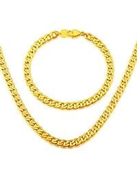 coreano cadena de moda de alta calidad adecuado para los hombres y mujeres de la joyería del oro 18k plateó el collar del brazalete de
