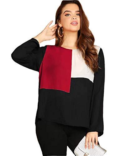 JUNEBERRY Women's Cotton T-shirt (TSH_111_BLKMRNWHT_P, Multicolour, XXL)