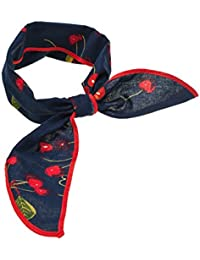 SETRINO® Nickituch Halstuch Bandana Haarband Rockabilly Retro Look für Frauen Kirschen-blau