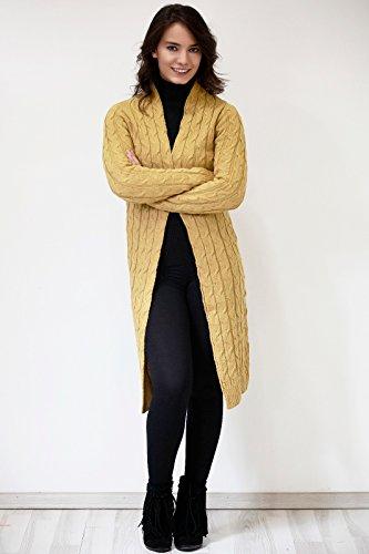 Damen Cardigan gelb, dunkel grau, beige, hell grau, lila, kaki grün, rot, rosa (Cardigan Geflochtener)