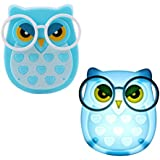 Ascension ® Owl LED Plug In Night Light For Kids- Wall Lamp Take Good Care Children Sleep Light Sensor Auto Controlled Nightlights For Baby Nursing Kids Favourite Birthday & Party Return Gifts (Blue) (Set Of 2)
