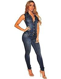 4320ce7af9e5e5 Vdual Damen Sexy Jeans Jumpsuit Einteiler Overall Ärmellos V-Ausschnitt  Binden Party Clubwear Playsuit Anzug