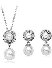 a1bde4eb590a Signore-Signori® Perlas y Elementos Swarovski Cristal Collar y Aretes  Bisutería Chapado ...