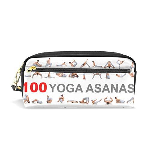 Stift Fall stationäre Yoga Asanas Bleistift Taschen tragbare Tasche für Schule Kinder Kinder Kosmetiktasche Make-up Beauty Case (Yoga Stationären)
