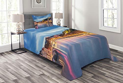 Schlafzimmer-set Lyon (ABAKUHAUS europäisch Tagesdecke Set, Saone Lyon Stadt, Set mit Kissenbezügen Sommerdecke, für Einselbetten 170 x 220 cm, Mehrfarbig)