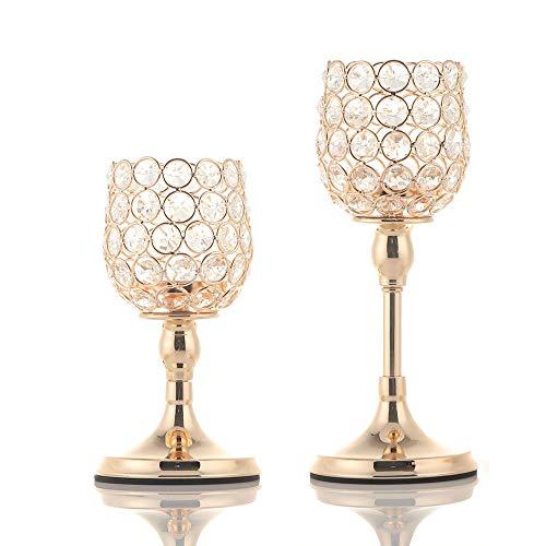 VINCIGANT Gold Kristall Kerzenhalter gesetzt für Hochzeit Dekoration Esszimmer Dekoration Tabelle Kernstück,20cm&25cm Höhe
