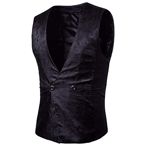 TEBAISE Elegante Herren Weste Anzugweste Casual Business stilvoll Vest Formal Slim Fit Retro ()