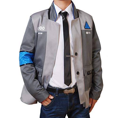 Become Human Agent Anzug Komplettset Uniform Halloween Cosplay Kostüm Jacke Casual Alltag Outfit Top Coat, Coat+Black Tie+Shirt, Bust M: 87-95cm - Black Tie Outfit