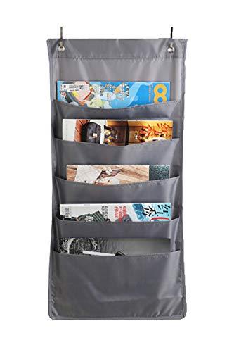 Stabiler Wand-Organizer zum Aufhängen, 5/10 A4-Größe, zum Aufhängen, Ordner, Aufbewahrungstasche für Büro, Zuhause, Schule 5 pockets grau