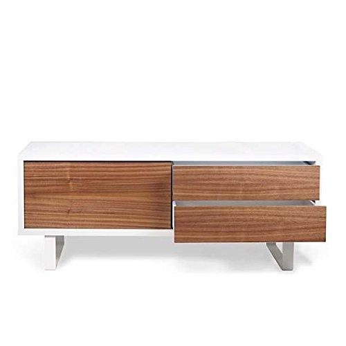 NILO, Meuble TV ou buffet bas : pieds métal, porte coulissante, tiroirs. Rien ne manque - designer : TEMAHOME - 150 x 45 x 58 cm - blanc, noyer