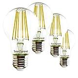 SunSeed 4x Glühfaden LED classic Lampe E27 9W ersetzt 90W Warmweiß 2700K