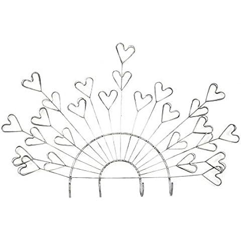 Perchero de pared 4ganchos y para 5fotos, diseño de corazón hierro forjado artisanal.
