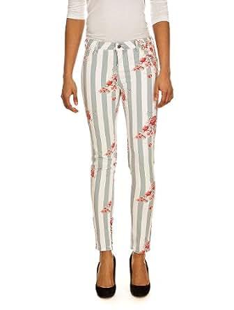 Jeans Jeg Print 994J Stripes Flowers TEDDY SMITH W27 Femme