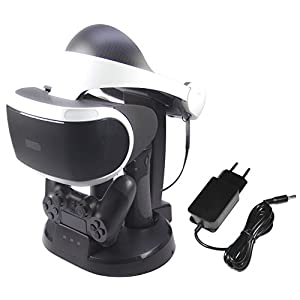 AmazonBasics – Ladestation und Ständer für die PlayStation VR, Schwarz (Für CECH-ZCM1x series PS Move Motion Controller )