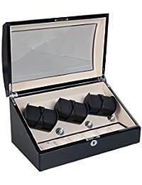 Lindberg & Sons - UB8223blcr - Estuche con bobinadora para 6 Relojes Automaticos y espacio de almacenamiento para 6 - 3 Rotores potentes - Interior de terciopelo color crema