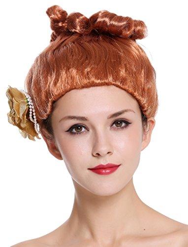 P130 Perücke Damen Karneval rot Rose hochgesteckt Blume viktorianisch Saloon Revue Girl (Geisha Girl Perücke Halloween)