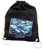 DarkArt-Designs Shark Selfie - Haifisch Turnbeutel für Kinder und Erwachsene - Tiermotiv Tasche Fun Party&Freizeit Lifestyle, Navy