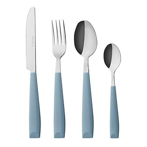 EXZACT WF232W - 16 PCS Besteck Set / Edelstahl-Besteck - Edelstahl mit Kunststoff-Handgriffen - Bequem zu halten - 4 x Gabeln, 4 x Dinner Messer, 4 x Dinner Esslöffel, 4 x Teelöffel - Service für 4 (Hellblau)