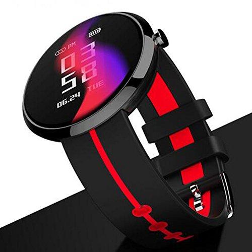 ACTIVITY TRACKER fitness, frequenza cardiaca/pressione/monitoraggio del sonno Wristband Round Screen IP67per Android e iOS smartphone-v06s, Red
